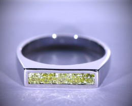 Fancy Yellow Diamonds .50ct Solid 14K White Gold Ring