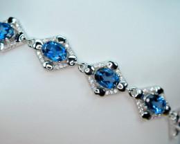 Natural 5 Pieces London Blue Topaz ,CZ 925 Silver Nice Bracelet