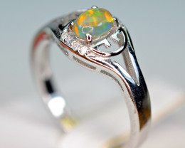 Natural Multi Fire Opal , CZ  925 Silver Awesome Nice Ring