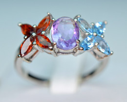 Natural 9 Pieces Multi Color Stones 925 Silver Nice Ring
