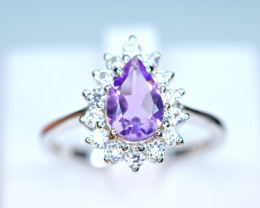 Natural Amethyst,CZ 925 Silver Nice Ring
