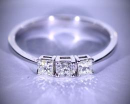 Diamonds .40ct Solid 14K White Gold Multistone Ring
