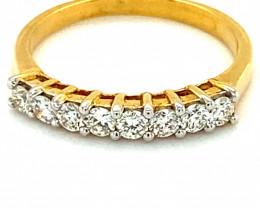 Diamonds .80ct Solid 14K Yellow Gold Multistone Ring