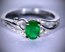 Emerald .93ct Platinum Finish Solid 925 Sterling Silver Ring