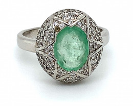 Emerald 1.59ct Platinum Finish Solid 925 Sterling Silver Ring