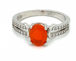 Fire Opal .84ct Platinum Finish Solid 925 Sterling Silver Ring