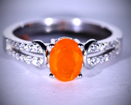Fire Opal .85ct Platinum Finish Solid 925 Sterling Silver Ring