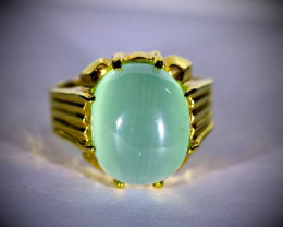 Green Cats Eye Calcite 10.78ct Solid 18K Yellow Gold Ring