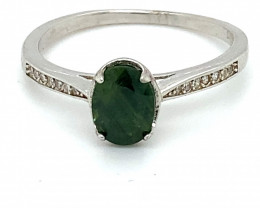 Green Sapphire 1.31ct Platinum Finish Solid 925 Sterling Silver Ring