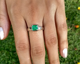 Colombian Emerald Sterling Silver Ring from Muzo 1.00 cts