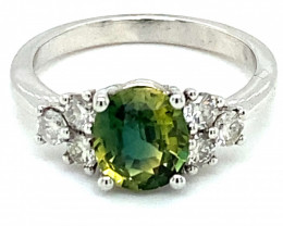 Green Sapphire 1.54ct Natural Diamonds Solid 14K White Gold Ring