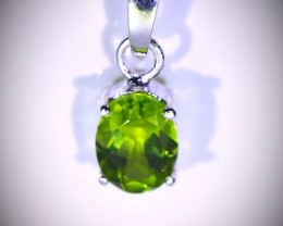 Green Tourmaline 1.20ct Platinum Finish Solid Sterling Silver Pendant