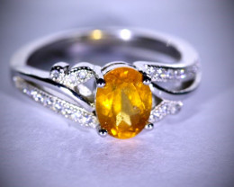 Hessonite 1.40ct Platinum Finish Solid 925 Sterling Silver Ring