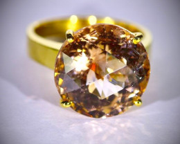 GIA Imperial Topaz 17.97ct Solid 18K Yellow Gold Ring