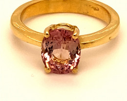 Pink Mahenge Spinel 2.75ct Solid 18K Yellow Gold Ring