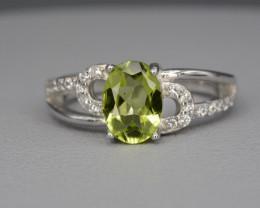 Natural Green Peridot 13.44 Cts CZ and  Silver Ring