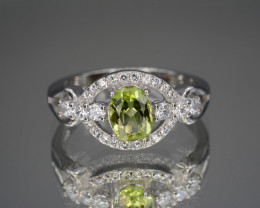 Natural Green Peridot 14.54 Cts CZ and  Silver Ring
