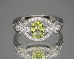 Natural Green Peridot 15.05 Cts CZ and  Silver Ring