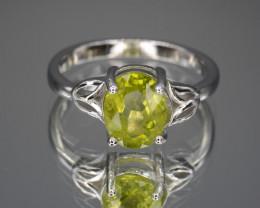 Natural Green Peridot 15.35 Cts CZ and  Silver Ring