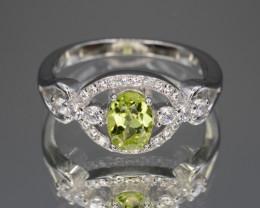 Natural Green Peridot 15.49 Cts CZ and  Silver Ring