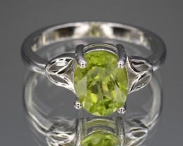 Natural Green Peridot 16.04 Cts CZ and  Silver Ring