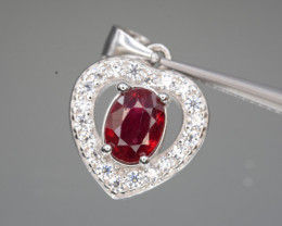 Beautiful Glass Filled Ruby CZ Pendant