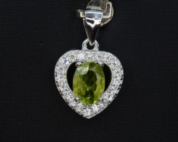 Natural Green Peridot 15.02 Cts CZ and  Silver Pendant