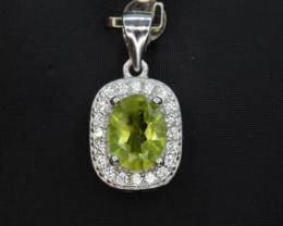 Natural Green Peridot 15.98 Cts CZ and  Silver Pendant