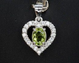 Natural Green Peridot 16.49 Cts CZ and  Silver Pendant