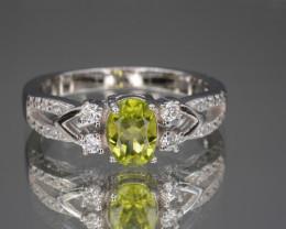 Natural Green Peridot 16.07 Cts CZ and  Silver Ring