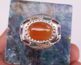 Very Beautiful Agate Ring With Multi Stone