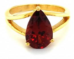 Malaya Garnet 4.00ct Solid 18K Yellow Gold Ring