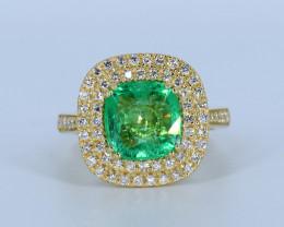 18k Gold Natural Panjshir Emerald and Diamonds ring Size US 7