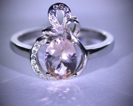 Pink Aquamarine or Morganite .92ct Platinum Finish Solid 925 Sterling Silve