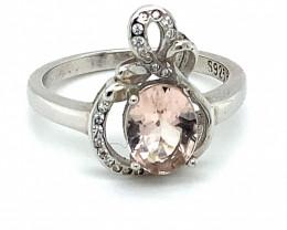 Pink Aquamarine or Morganite .92ct Platinum Finish Solid 925 Sterling Silve