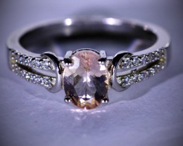 Pink Aquamarine or Morganite 1.04ct Platinum Finish Solid 925 Sterling Silv