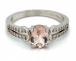 Pink Aquamarine or Morganite 1.04ct Platinum Finish Solid 925 Sterling Silv