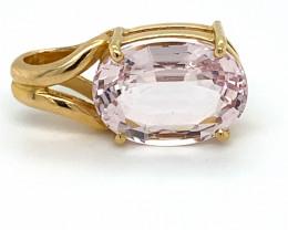 Pink Aquamarine or Morganite 9.76ct Solid 18K Yellow Gold Pendant