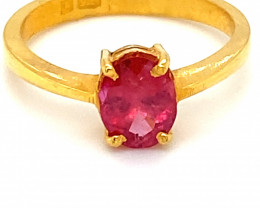 Mozambique Ruby 1.17ct Solid 22K Yellow Gold Ring