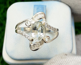 Natural Aquamarine 925 Silver Ring