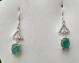 Natural Emerald 925 Silver Earring