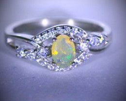 Opal .30ct Platinum Finish Solid 925 Sterling Silver Ring