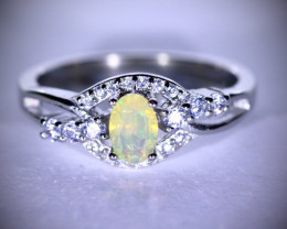 Opal .37ct Platinum Finish Solid 925 Sterling Silver Ring