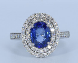 MARVELOUS BLUE SAPPHIRE and Diamond in 18K Gold Ring Size:7