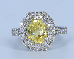 IGI Certified Exclusive Yellow Sapphire and Diamond in 18K White Gold Ring