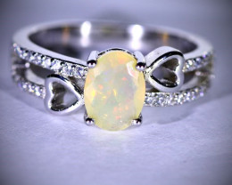 White Opal .58ct Platinum Finish Solid 925 Sterling Silver Ring