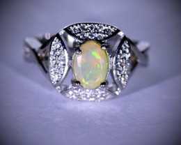 White Opal .70ct Platinum Finish Solid 925 Sterling Silver Ring