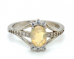 Precious Opal .75ct Platinum Finish Solid 925 Sterling Silver Ring