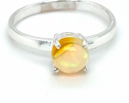 Opal 1.01ct Platinum Finish Solid 925 Sterling Silver Ring