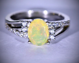 Welo Opal 1.02ct Platinum Finish Solid 925 Sterling Silver Ring
